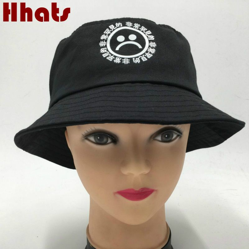 a8dd9aa948e2d Click to Buy    Which in shower women men fisherman sad boy bucket hat hip  hop navy white black red sadboy summer sun panama cry face bonnie cap   Affiliate