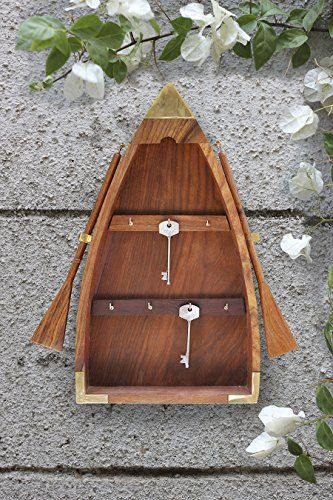 Vintage Boat Shaped Key Guard Handmade Sheesham Wood Key Cabinet Organizer