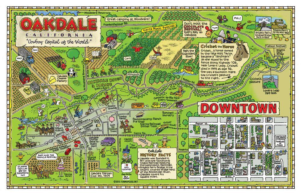 Fun Maps USA - Oakdale, CA | Oakdale california, Campus map ...