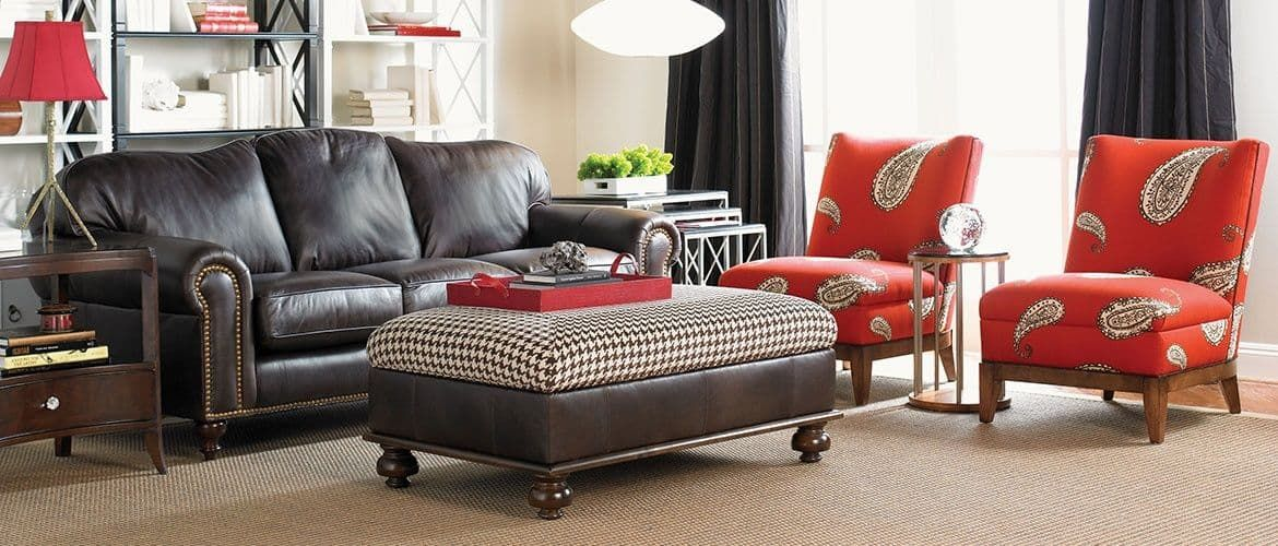 Terrific Living Room With Leather Sofa And Red Side Chairs Gmtry Best Dining Table And Chair Ideas Images Gmtryco