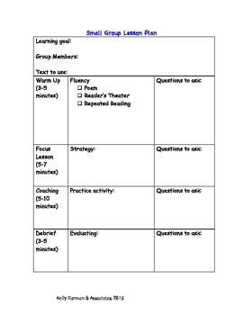 Small Group Lesson Plan Template And Guide For Reading Lesson - Reading group lesson plan template