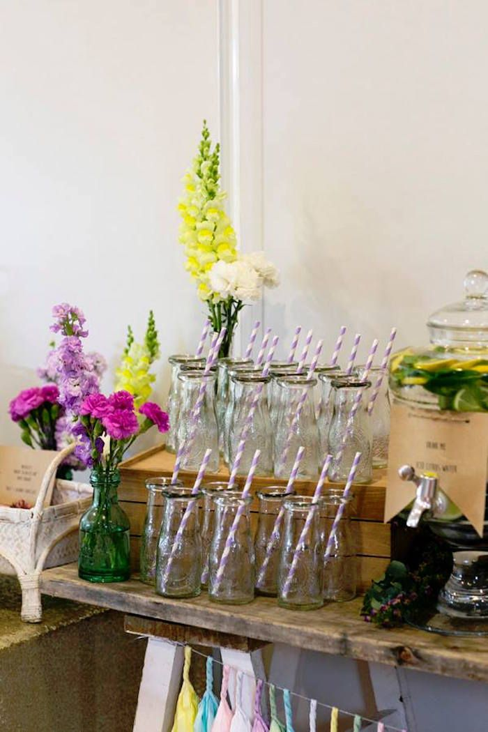 8d486a845e Drink Station + Milk Bottles from a Boho Chic Baby Shower via Kara s Party  Ideas