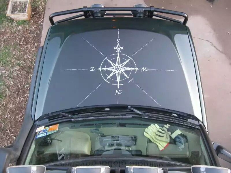 Compass hood vinyl decal sticker fits to Jeep WRANGLER Rubicon