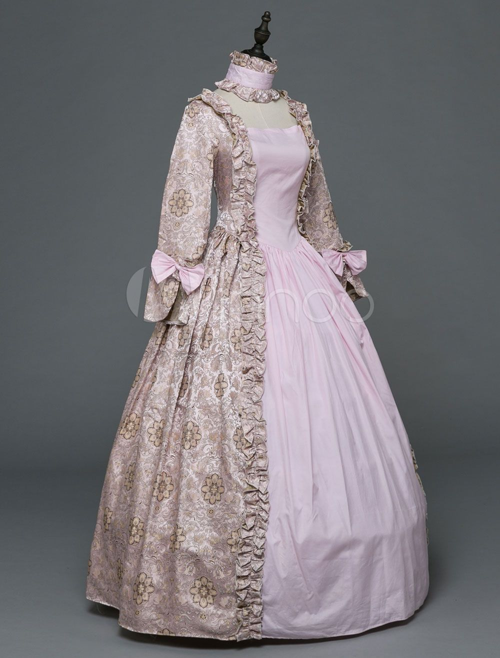 Halloween Retro Costume Pink Victorian Dress Rococo Masquerade Ball Gowns Printed Long Sleeve Vintage Costume Masquerade Ball Gowns Victorian Dress Ball Gowns [ 1316 x 1000 Pixel ]