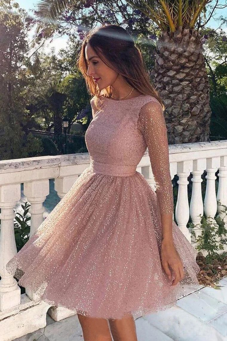 Sequins Long Sleeve Short Homecoming Dresses Backless Formal Dress VEP7SB2KB2