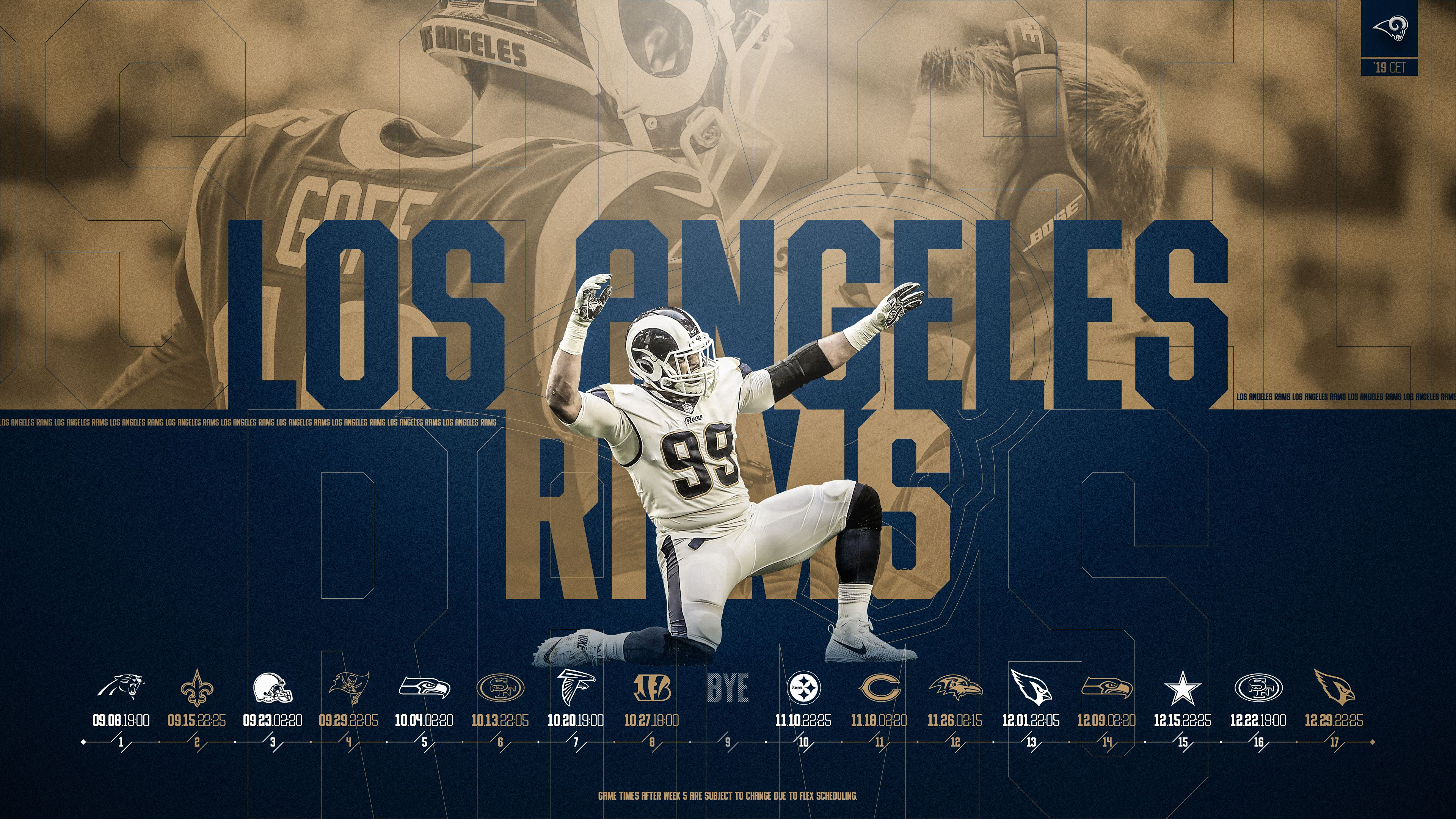 Schedule Wallpaper For The Los Angeles Rams Regular Season 2019 Central European Time Made By Tobler Gergo Tgersdiy Wallpaper Los Angeles Rams European