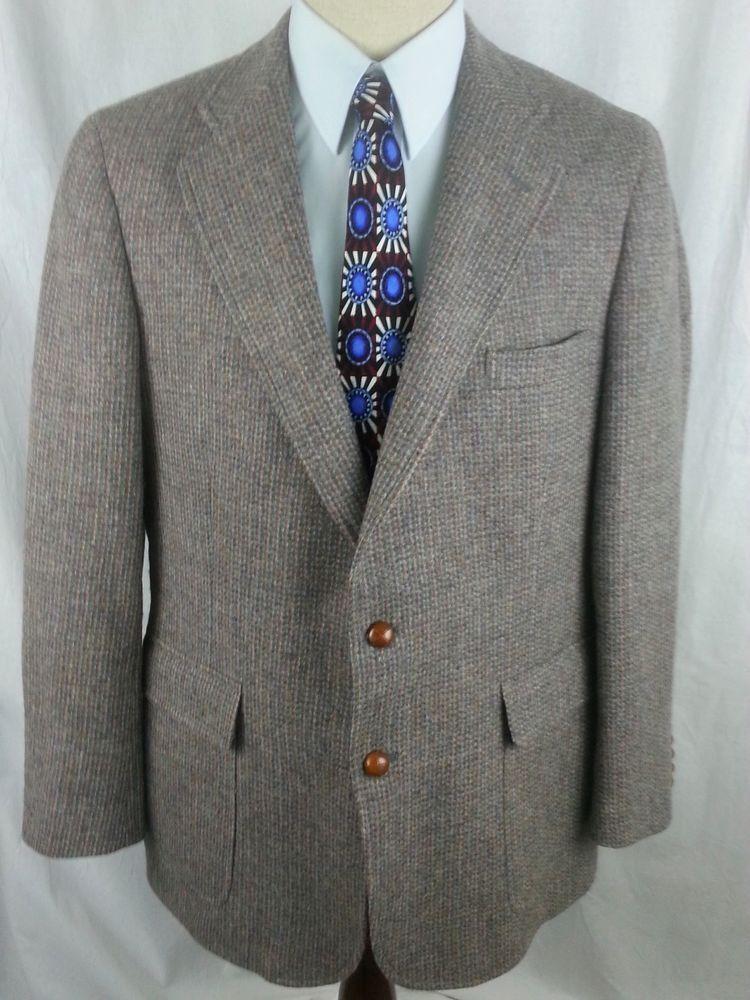 Chaps Ralph Lauren Blazer Sport Coat size 44L Tweed Wool Rochester ...