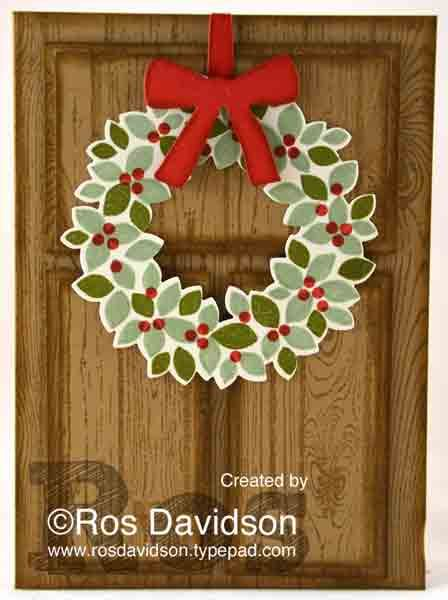 Christmas wreath door card #stampinup #rosdavidson #wondrouswreath #wreath