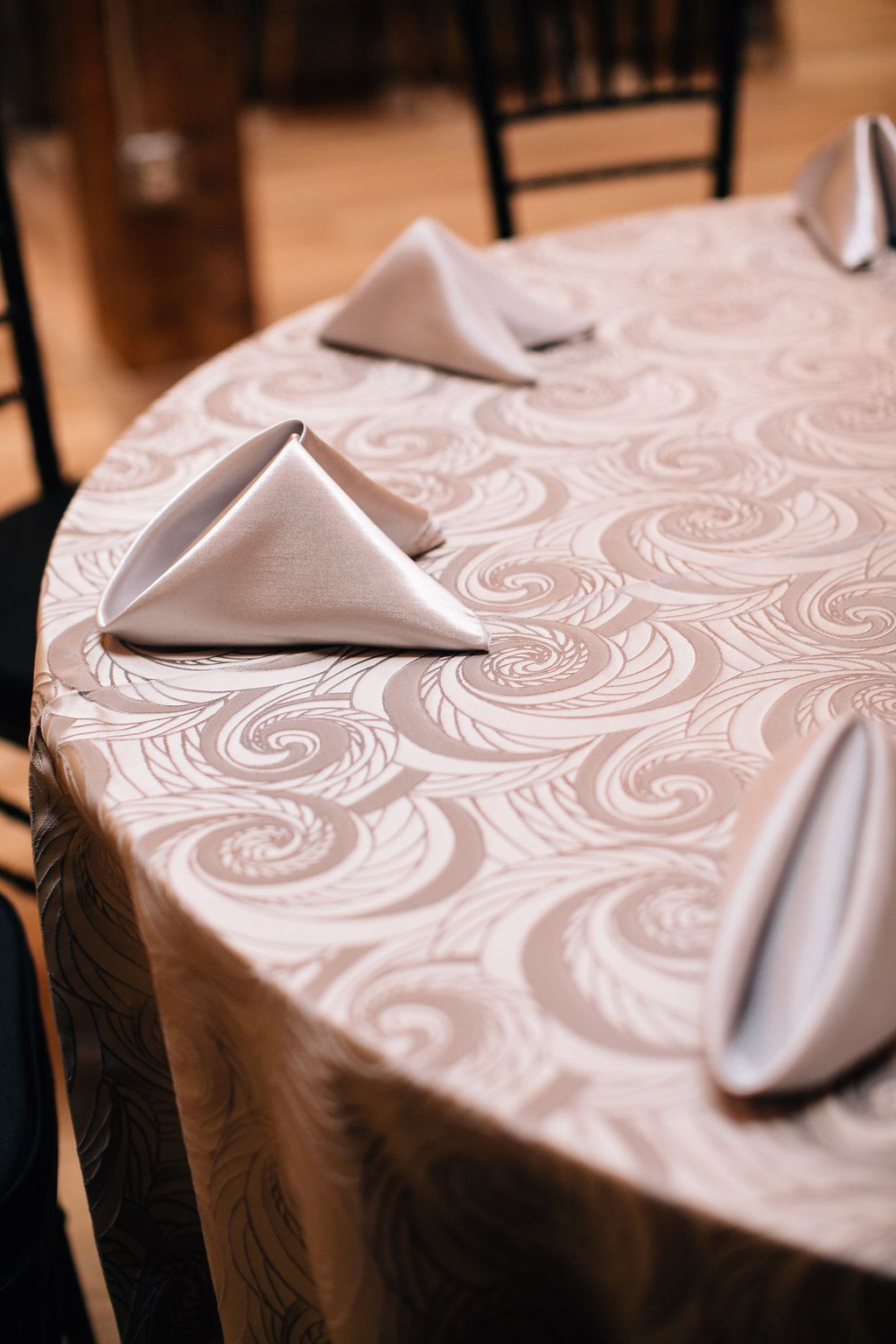 Fog Nautilus linen and Silver Shantung napkins by Creative Coverings on