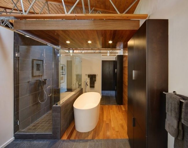Modernes Bad Ideen Begehbare Dusch Badewanne Holzboden Bad