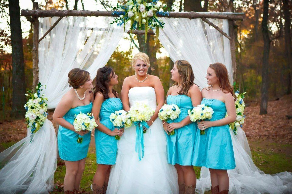turquoise wedding outdoor ceremony log altar  The Barn at Twin Oaks Ranch