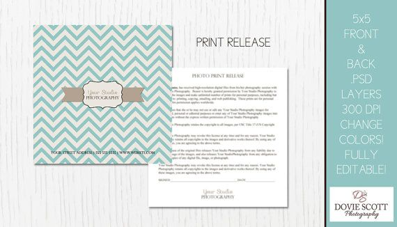 Photo Print Release Form Template Photography by DovieScottPhoto - print release form