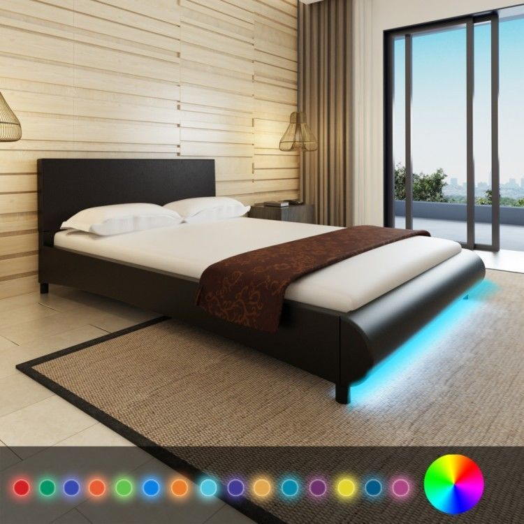Comfortable Bed Frame Bedroom Artificial Leather LED Home Modern ...