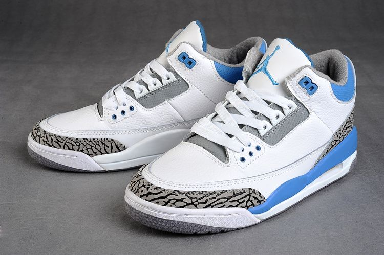 innovative design 2b60c b8825 Mens Nike Jordan 3 Retro Shoes(White Sky Blue Grey)