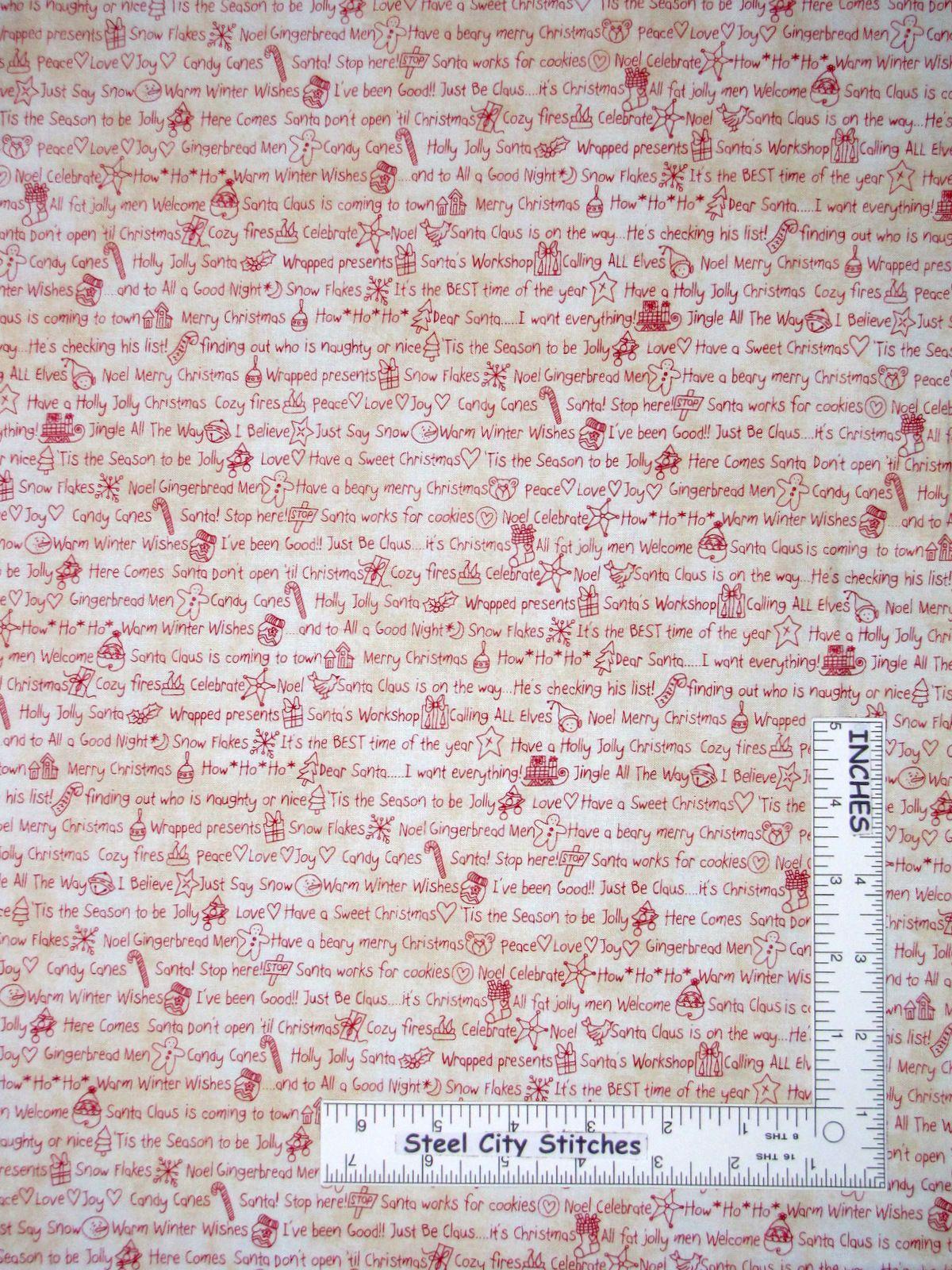 Details about Christmas Santa Cane Ecru Cotton Fabric 42