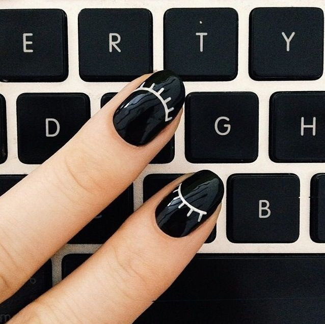 Winking mani. So cute! #nails #nailart #manicure