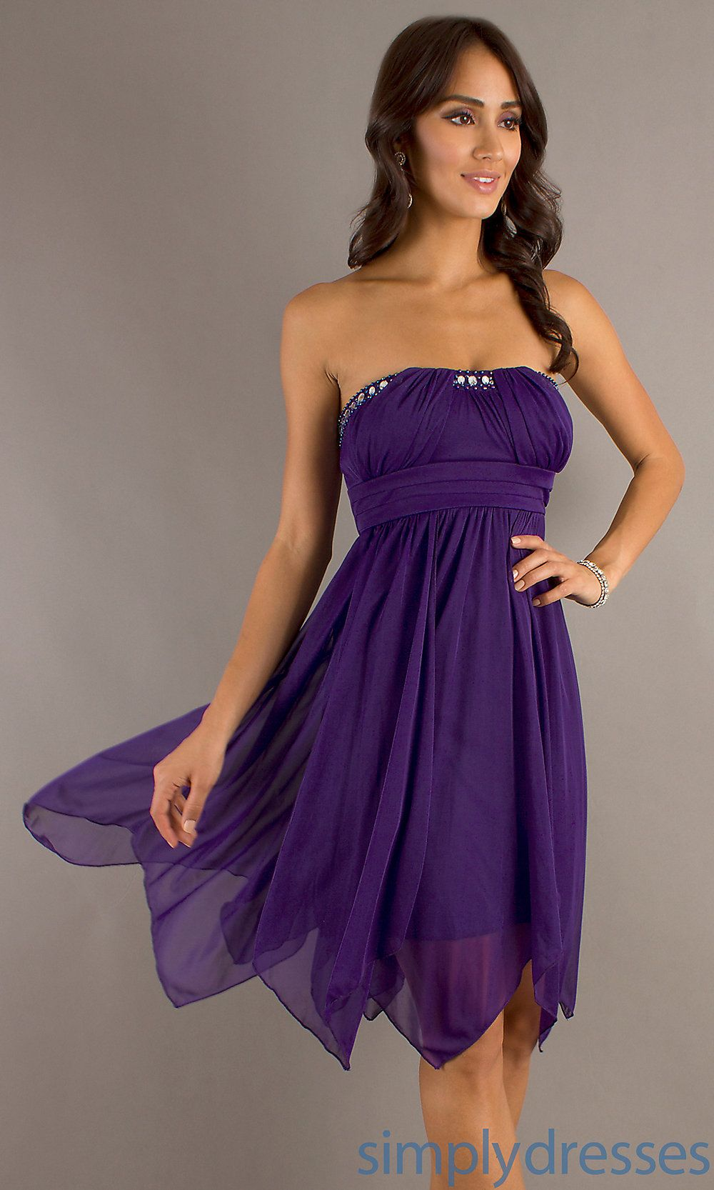 Strapless Purple Short Dress, Purple Party Dress - Simply Dresses ...