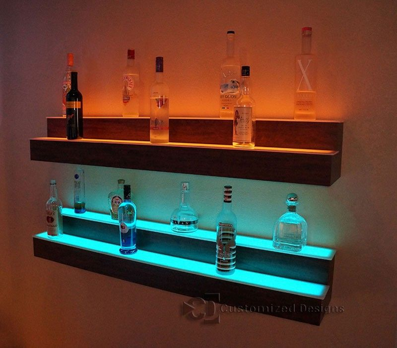 2 Step Led Lighted Liquor Displays Red Wood Bar In