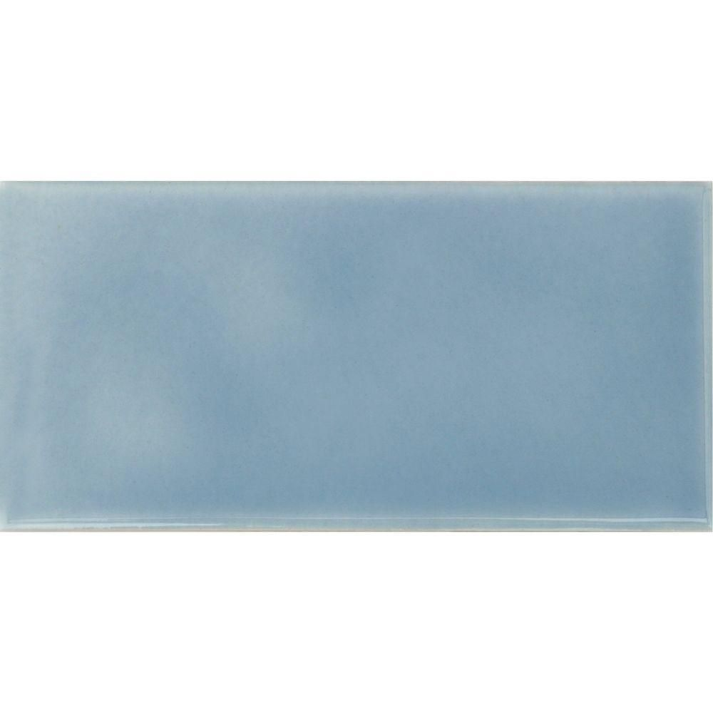 Solistone Hand-Painted Cancun Light Blue 3 in. x 6 in. Glazed ...