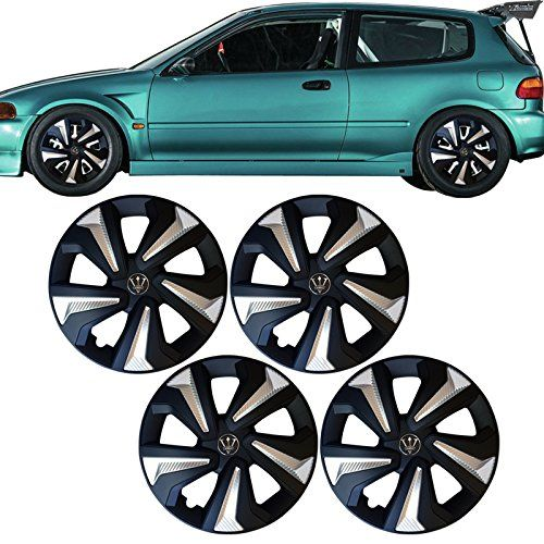 Universal 15 Inch OE Replacement Wheel Cover Hubcaps Tire Cover Black Silver 4PC