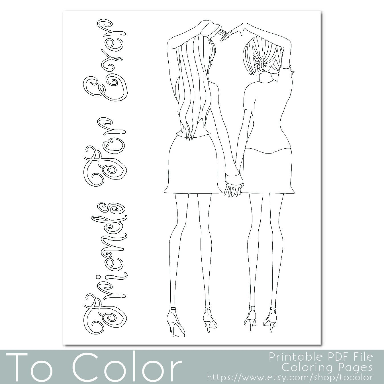 friends holding hands coloring pages - photo#7