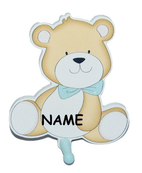 Kleiderhaken clipart  Garderobenhaken aus Holz incl. Name - Teddybär - blau Kinder mit 1 ...