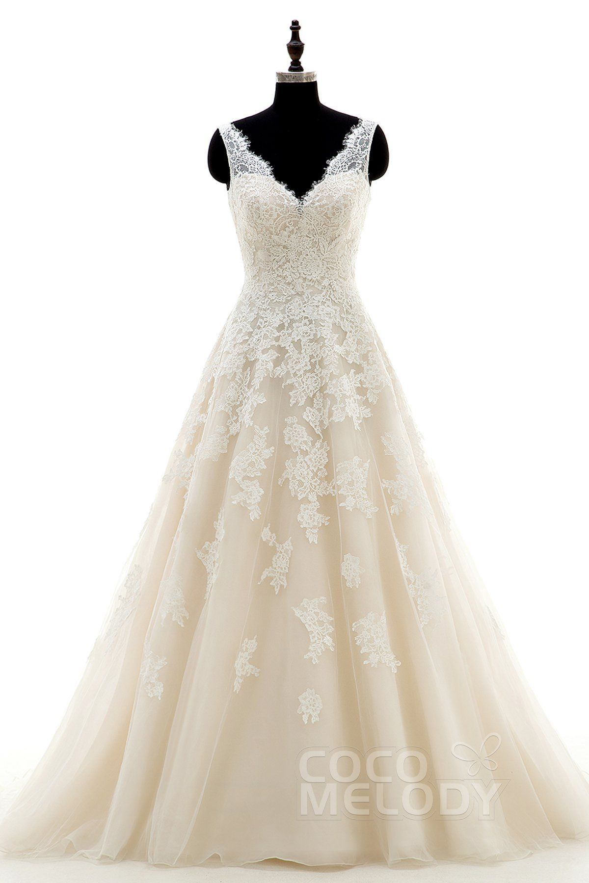 Aline court train tulle and lace wedding dress cwat