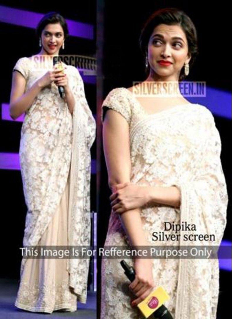 Alluring Deepika Padukone Off White Wedding Designer Partywear Saree