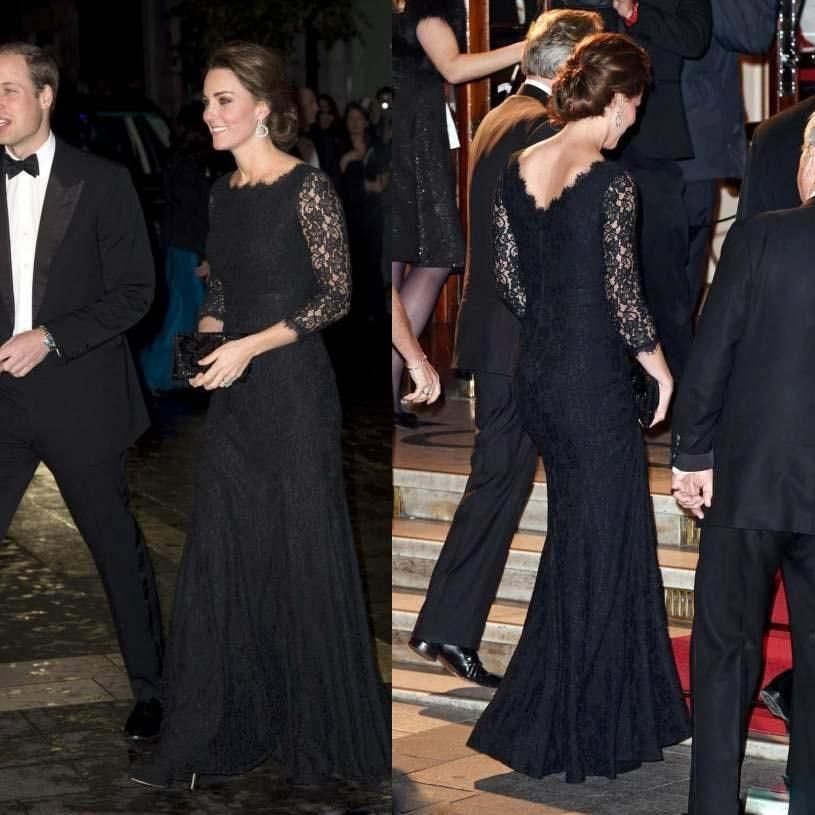 Cheap Kate Middleton 2016 Manga Larga de Encaje Negro Vestidos de
