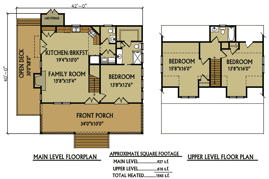 Small 3 Bedroom Lake Cabin With Open And Screened Porch Cabin Floor Plans Cottage House Plans Cottage Floor Plans