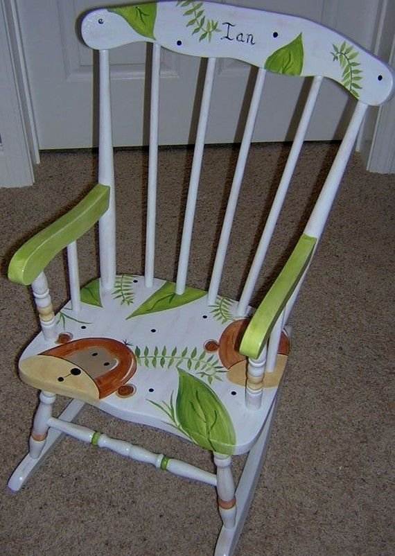 Hand Painted Personalized Childs White Spindle Rocking Chair