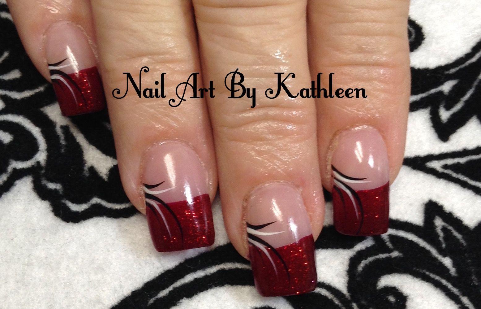 Red Glitter French Nails | Nail Art & Designs | Pinterest | Nagelschere