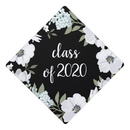 Gray and White Flowers on Black | Class of 2020 Graduation Cap Topper | Zazzle.com