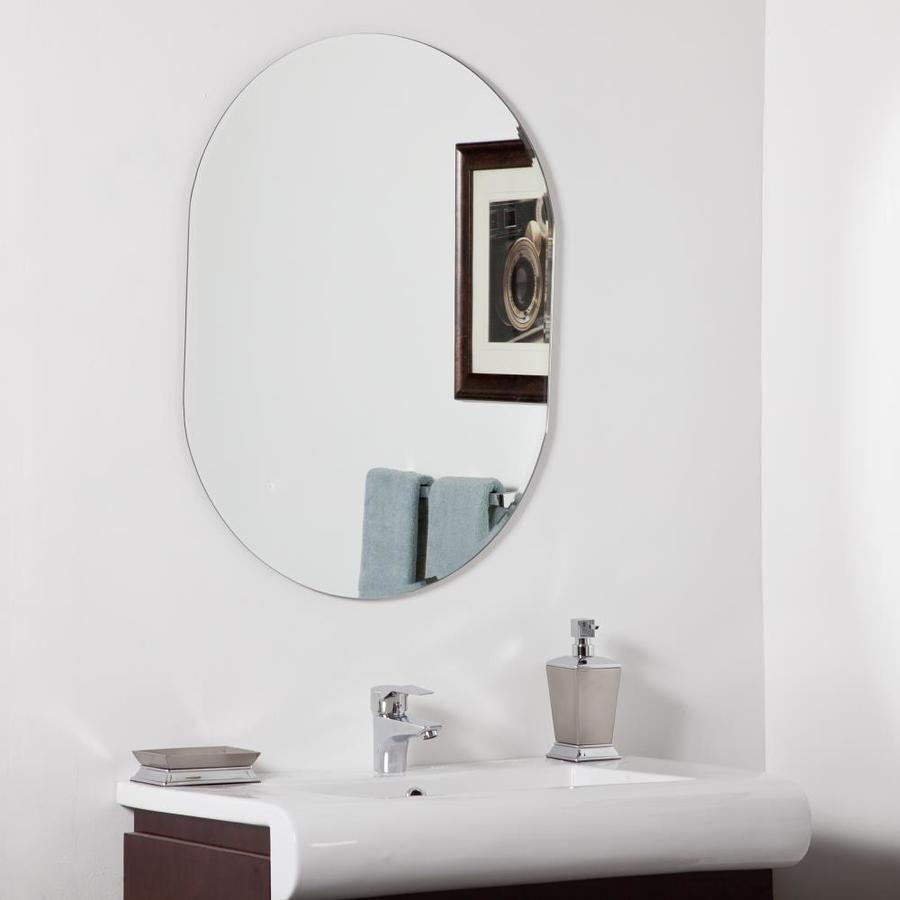 Decor Wonderland 23 6 In Oval Frameless Bathroom Mirror Lowes Com Modern Bathroom Mirrors Mirror Wall Bathroom Modern Mirror Wall [ 900 x 900 Pixel ]