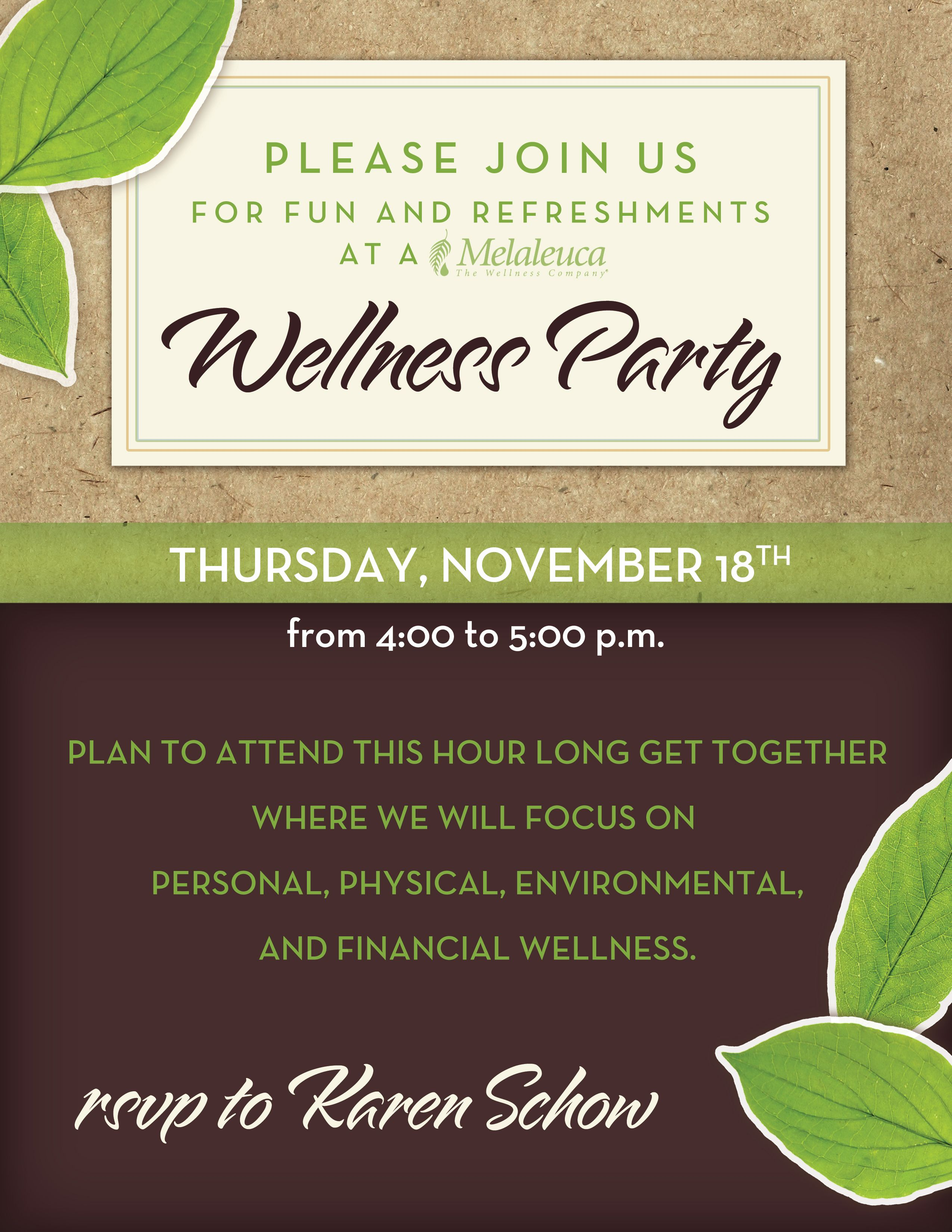 Melaleuca Wellness Party Invitation Misc Ads Graphics In 2019