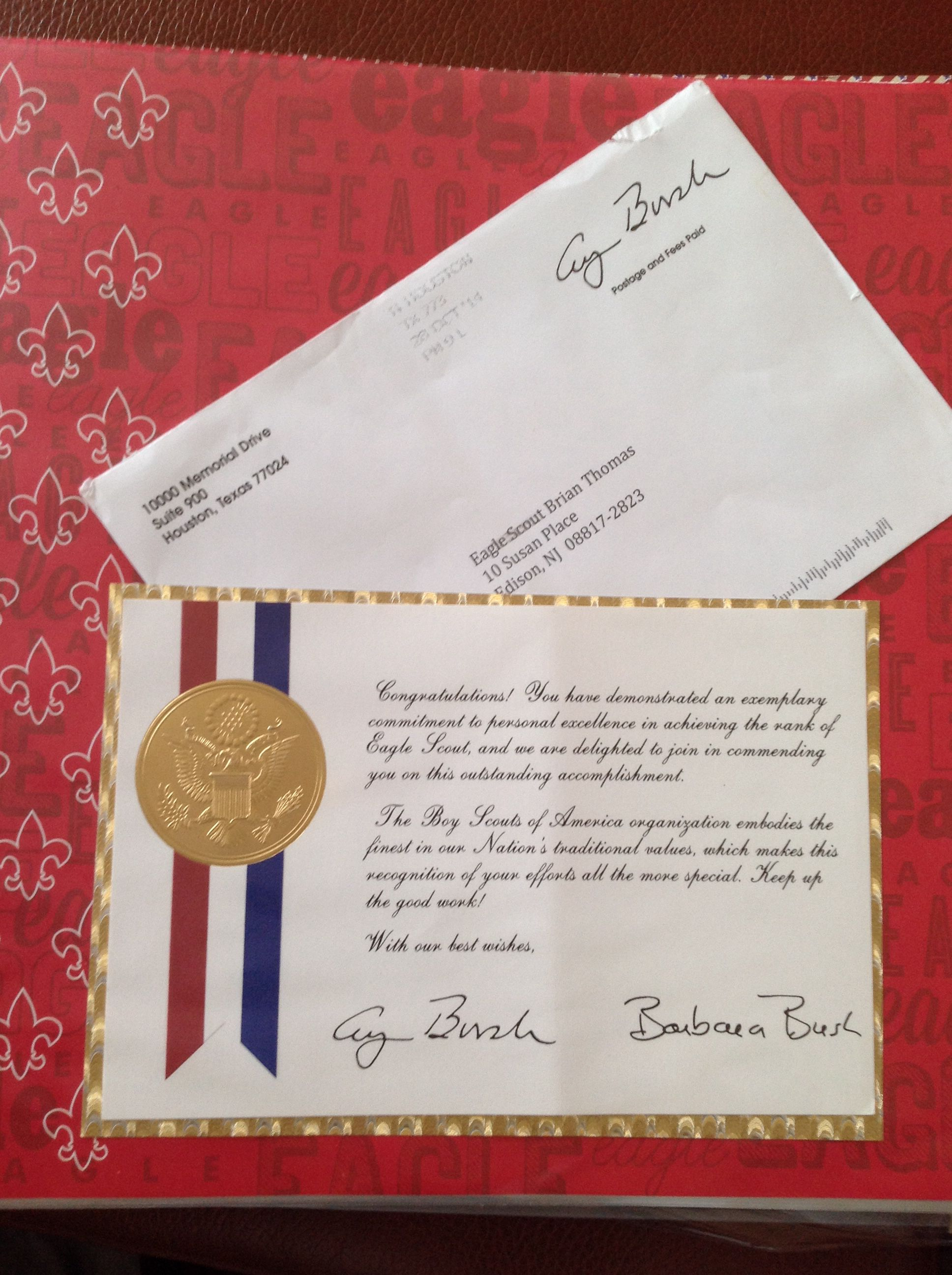 eagle court of honor letter of congratulations. president george