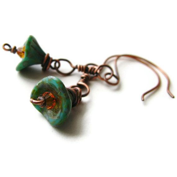 Turquoise Flower Copper Earrings with Swarovski Crystal by heversonart, #jewelry #rustic #nature