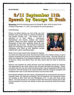 September 11 Speech Analysi By George W History Matter Teacher Pay Social Studie Middle School 9 Essay 9/11 Prompt Student Thesi Statement