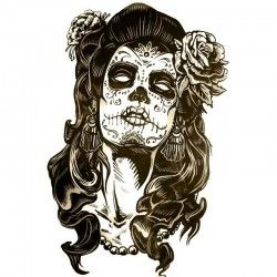 tatouage ephemere portrait femme mexicaine masques. Black Bedroom Furniture Sets. Home Design Ideas