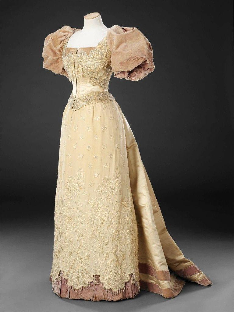 Evening dress 1893-1894, unknown country Silk, velvet, net, beads ...