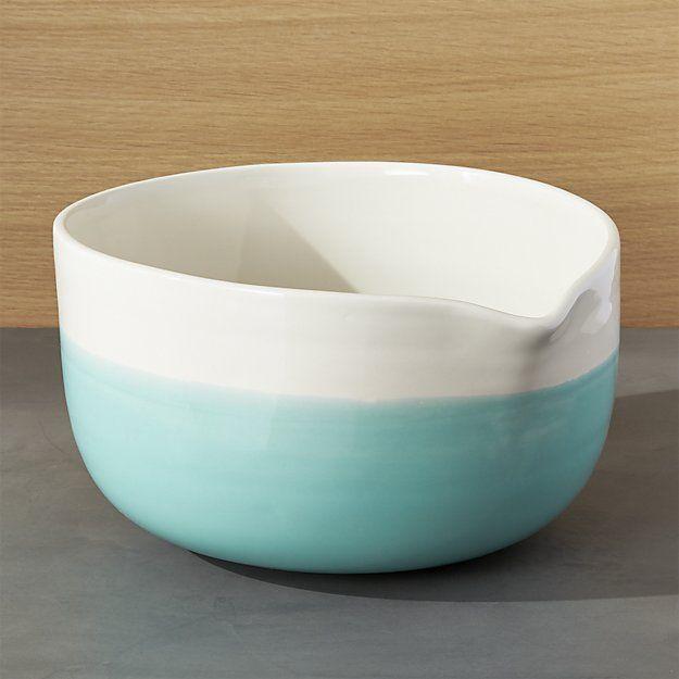 Aqua Dip Mixing Bowl With Spout Crate And Barrel Mixing Bowls Bowl Plastic Crates