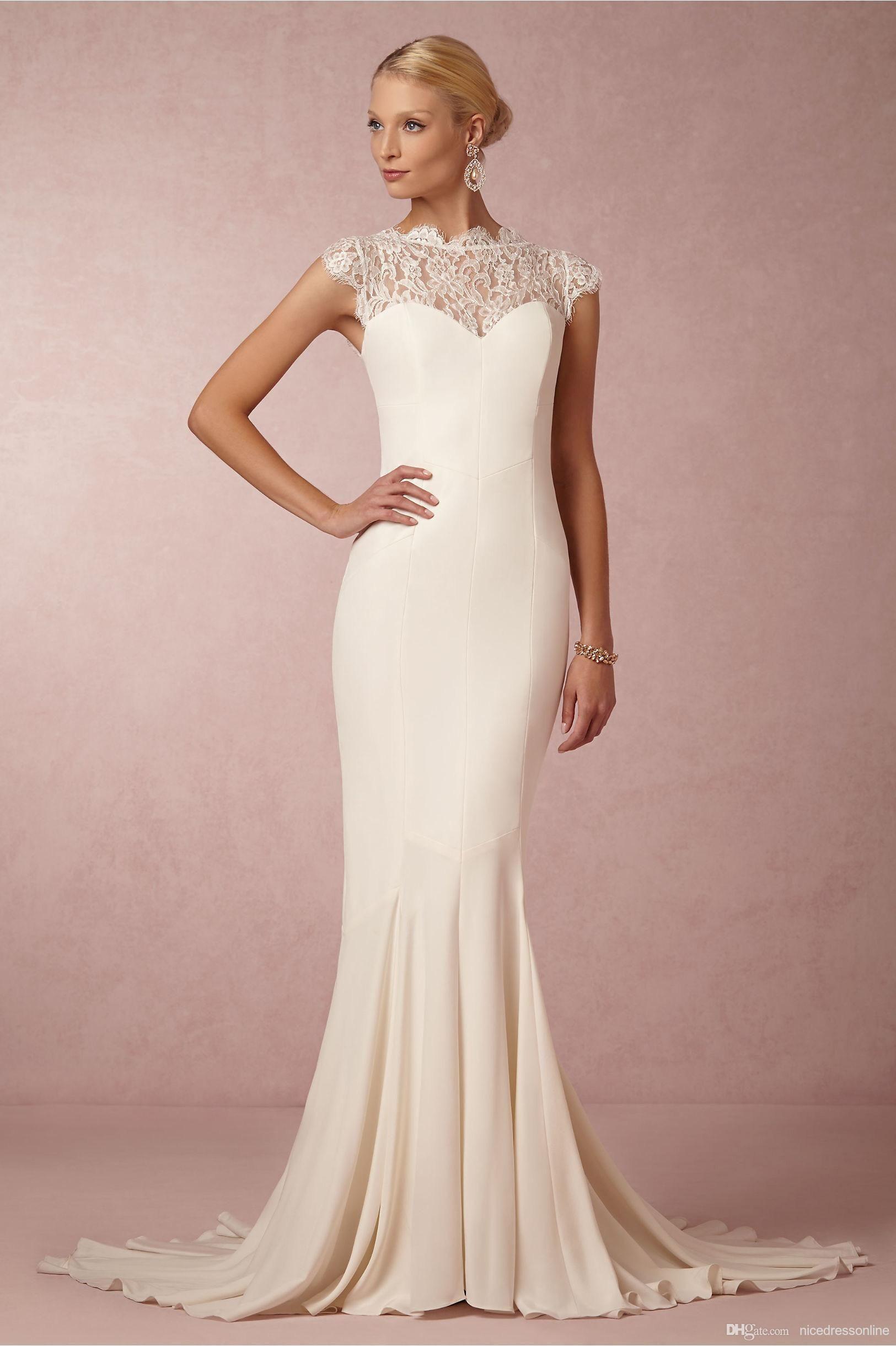 Bhldn 2016 Elegant Wedding Dresses with Cap Sleeves High Neck Lace ...