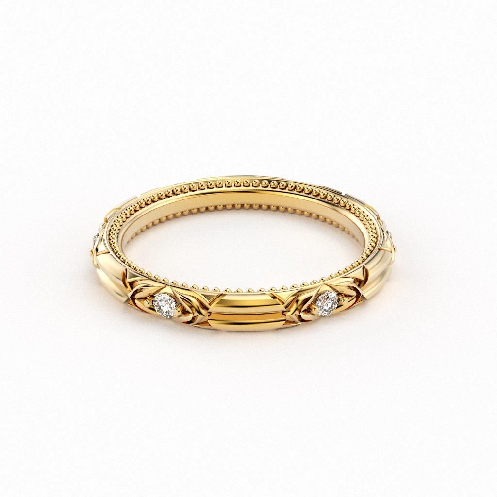 18kt yellow gold art decoinspired wedding back with