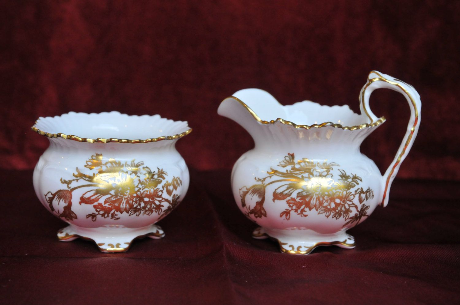 SALE!  20% OFF!  Vintage Aynsley Bone China Creamer Jug and Sugar Bowl with Gold Flower Pattern Regal Footed by Bautistacollectibles on Etsy