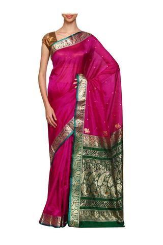 Rani Pink daagina silk peshwai paithani saree