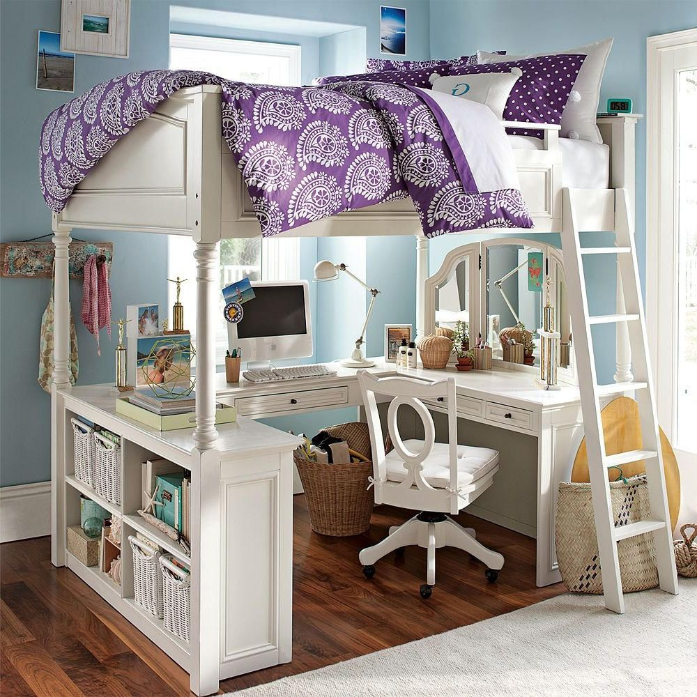 Loft bedroom layout ideas  Loft Bed with Vanity and Desk  Desk Wall Art Ideas Check more at