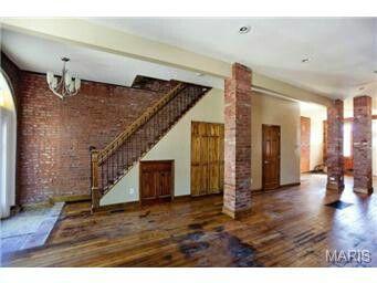 Charming Exposed Brick Column, Rustic Hardwood