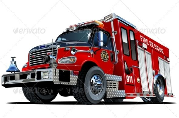 Vector Cartoon Fire Truck With Images Fire Trucks