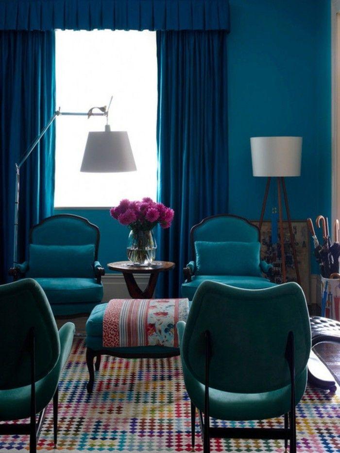 Wunderbar Elegantes Wohnzimmer Farbe Petrol Schicke Gardinen