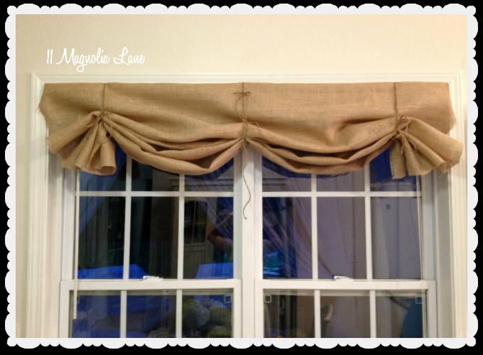 Tutorial How To Make A No Sew Diy Burlap Window Valance Burlap Curtains Diy Diy Valance Burlap Window Treatments